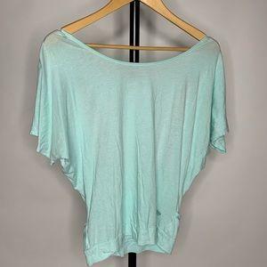 Forever 21 Teal Mint Open Back Short Sleeve Shirt